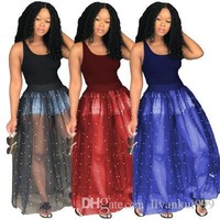 Women Summer Mesh Dresses Explosion Sexy Casual Loose Beaded Mesh Irregular Tutu Vest Maxi Club Night Party Dress Plus Size Clothing S-2XL