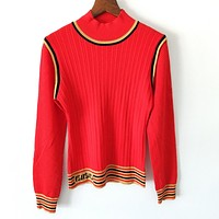 FENDI Newest Popular Women Long Sleeve High C ollar Knit Top Sweater Red
