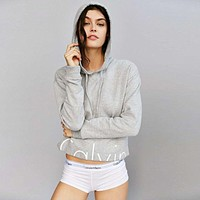 "Fashion ""Calvin Klein"" Letter Print Hooded Long Sleeve Pullover Tops Sweater"