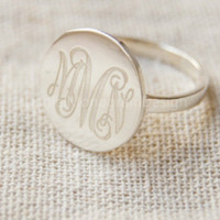 Engraved 925 Sterling Silver Monogram Ring,Engraved monogram ring,Initials ring,Bridesmaids ring