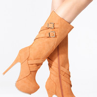 Tan Faux Suede Strap Buckle Knee High Platform Boots