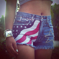 High rise American flag denim shorts,high waisted flag jeans shorts,studded shorts by Jeansonly