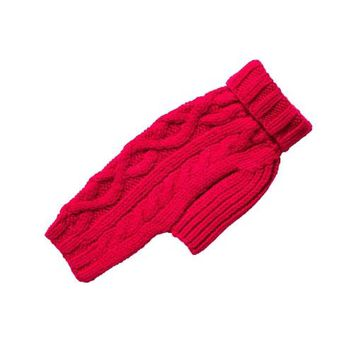 Nantucket Cable Knit Wool Sweater — Cranberry