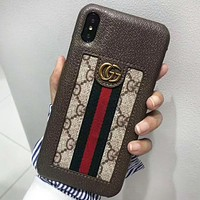 GUCCI New fashion stripe more letter leather couple protective cover phone case