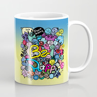 Be Happy doodle monster Coffee Mug by cindys