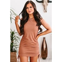 Impossible Decisions Side Ruched Mini Dress (Brick)