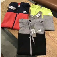 Adidas splicing color Hooded zipper Hoodies Suitable for Women and man Sportswear Coat