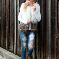 Cream & Mocha Faux Fur Vest