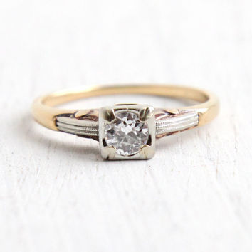Vintage 14k Yellow & White Gold Diamond Ring - Size 6 1940s 1/4 Carat Diamond Engagement Wedding Two Tone Heart Accent Fine Jewelry