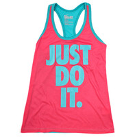 Womens - Nike Womens Just Do It Dri-Blend Tank - Pink / Turquoise - DTLR -  Down Town Locker Room. Your Fashion, Your Lifestyle!