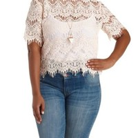 Plus Size Blush Sheer Mock Neck Lace Top by Charlotte Russe