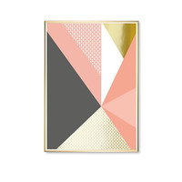 Pink Gray Triangles Shapes, Pink Triangles Print,  Real Gold Foil, Geometric Poster, Home Decor,Shapes Print, Modern Art Poster, Wall Art,