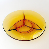 Viking Glass Epic Serving Dish 1960s Vintage Amber Glass Mid Century Divided Serving Tray