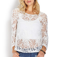 FOREVER 21 Enchanted Floral Mesh Top White