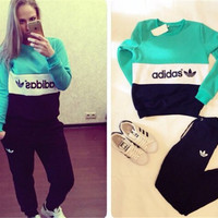 Long Sleeve Round-neck Patchwork Sportswear Set [7832932167]