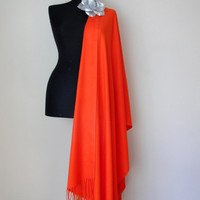 Orange Red Shawl, Solid Color Tangerine Pashmina, Gift For Her, 2015 Christmas Gift, Bridal Wrap, Bridesmaid Gift, Wedding Shawl, Flower Pin