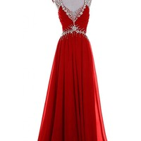 Emma Y Luxury V-neck Prom Gowns Party Dresses Chiffon Long 2014