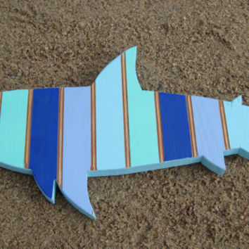 Striped Blue and Turquoise Shark Handcrafted from Reclaimed Wood Ocean Nautical Beach Themed Decor Bathroom Boys Room Wall Decor Surf Decor