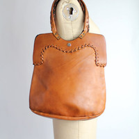 70s vintage large WHISKEY LEATHER leather shopper tote bag