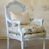 Antique Single Cane Armchair in Pale Ice Blue - $1745 - The Bella Cottage