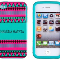 DandyCase 2in1 Hybrid High Impact Hard Hakuna Matata Aztec Tribal Pattern + Teal Silicone Case Cover For Apple iPhone 4S & iPhone 4 + DandyCase Screen Cleaner