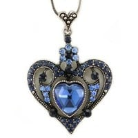 Mother's Day & Valentine's Day Gift Royal Blue Heart Necklace Flower Pendant Charm Rhinestones