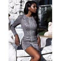 Tomassa Grey Suedette long sleeved dress