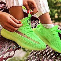 Samplefine2 Adidas Yeezy 350 Boost V2 Fashion Men Women Casual Breathable Sport Running Shoes Sneakers Fluorescent Green