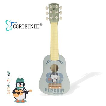 CGRTEUNIE Classical Acoustic 6 String 21 Inch Handmade Wooden Guitar Ukulele Rhyme Developmental Musical Instrument Educational Toy for Toddlers Children Beginner (Mr Penguin) Mr Penguin