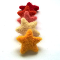 10 felt stars in fall colors for Thanksgiving, fall or autumn home decor, 30-40mm