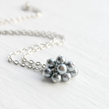 Silver and Gray Pearl Cluster Necklace - Beaded Pearl Necklace - Wedding Jewelry - Dainty Pendant