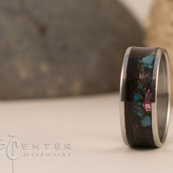 Stainless Steel ring.Bentwood Ring, Stainless Steel, wood wedding band, Engagement Ring, Turquoise Ring, Stainless Steel Band