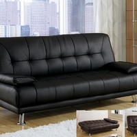 Tufted back Black or Brown bycast leather upholstered folding futon bed with removable arms and tufted seat and backs