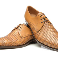 SHOEPASSION.com – Goodyear-welted woven Derby in brown