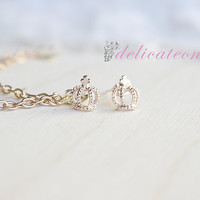 RoseGold Tiny Crown Stud Chain Cartilage Earring / Cartilage Piercing