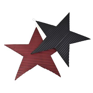 Rustic Corrugated Metal Star Wall Decor, Assorted Colors, 23-Inch
