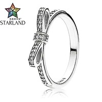 Starland Fine Detail Authentic 925 Sterling Silver Sparkling Bow Knot Stackable Micro Pave CZ Rings for Women Wedding Jewelry