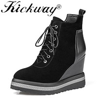 Kickway Women High Wedge Ankle Boots Cow Suede Round Toe Ladies Fashion Ankle Boots Plus Size 34-42 Winter Boots Shoes Women