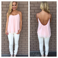 Pink Chiffon Low Back Tank