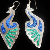 Crushed Turquoise Earrings Bird Peacock Swan Mexico Silver Vintage Earrings Blue Green Turquoise Large Pierced Dangle Inlay Inlaid Earrings