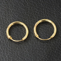 Men Women Smooth Round Circle Earring Small Loop Hoop Earrings Gold Silver Plated Huggie Jewelry Simple Ear Accessories