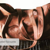 Salted Caramel,classic,timeless Leather Tote Bag.Traditional style, handmade genuine leather with long, strong shoulder straps. Pefect Purse