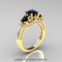 Exclusive French 18K Yellow Gold Three Stone Black and White Diamond Engagement Ring Wedding Ring R182-18KYGDBD