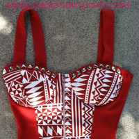 ITEM SHIPS 1/21/2013 - Studded Bustier Top Large Tribal Print Silver Studs Red Rust Corset