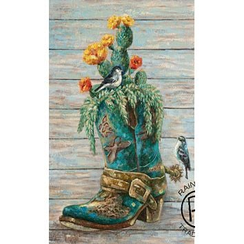 Cowgirl Kim Turquoise Boot Canvas Painting*