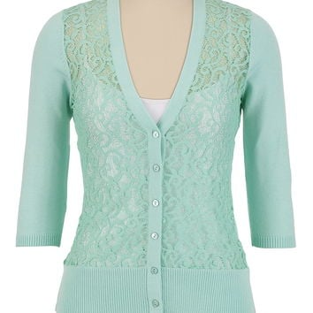 V-Neck Lace Front Cardigan