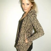 Leopard Print Long Sleeve Cardigan with Pleat Shoulders