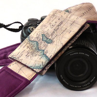 World Map Camera Strap with pocket. Photo camera Accessories. SLR, DSLR Camera Strap. Holiday Gift. Camera Accessories