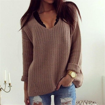 Women's V-Neck Long Sleeve Loose Pullover Sweater Retro Style Winter Clothings Knitted Sweater = 1945932740