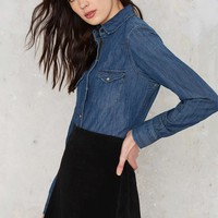 Nasty Gal Chambray You Stay Western Shirt